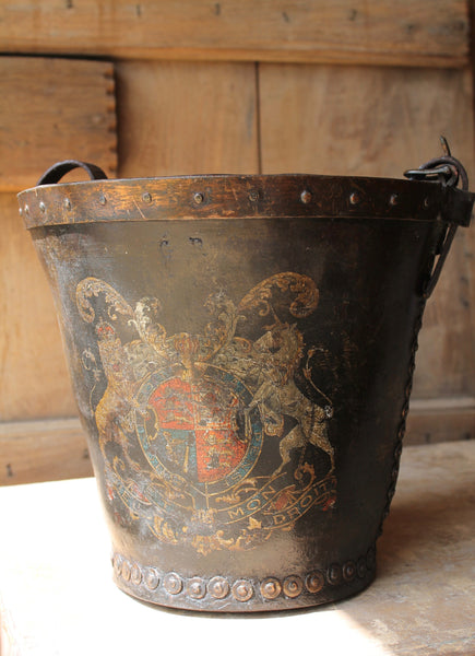 19th c leather fire bucket with royal coat of arms