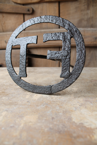 "Large early 20th century branding iron initials ""FT"""