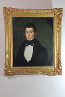 French school oil on canvas portrait of a gentleman