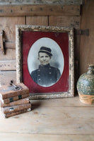 19th c French photograph of a solider in original frame