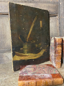 19th century study of an inkwell and candlestick
