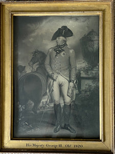 A large stipple and line engraving of King George III with original frame & glass