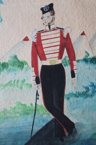 Naive portrait of Private 3393 George Coombes, Crimean War 1854