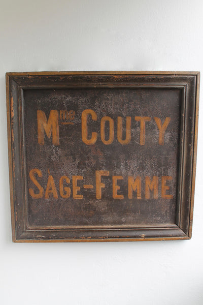 French midwife's sign in original paint c. 1900