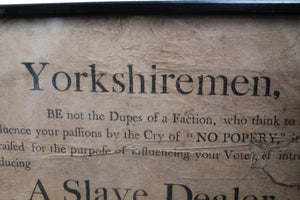 Rare George III political broadside from 1807 election in Yorkshire