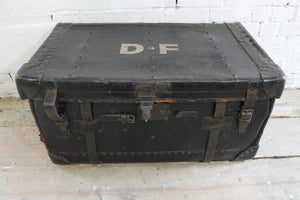 19th c leather travelling trunk from the Boconnoc Estate, Cornwall
