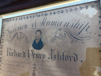 A large example of penmanship with portrait of Richard Henry Ashford, 1818