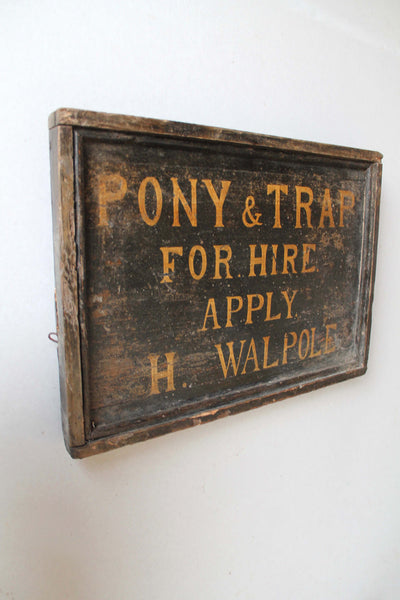 Folk art trade sign Pony & Trap for hire
