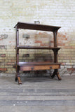 19th c oak etagere in quarter sawn oak
