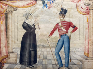 Naive watercolour of a Company Sergeant Major of the 22nd Regiment of foot and his family, J. Wright, Newcastle, 1832