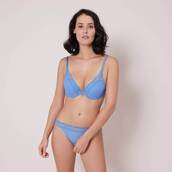 Confiance Blue Denim Triangle Push Up Bra
