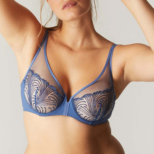 Nuance Blue Denim Full Cup Plunge Bra
