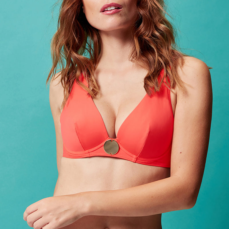 Simone Pérèle Moon Underwired Triangle Bikini Top | SHEEN UNCOVERED, clementine