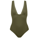 Simone Pérèle Luna Wireless Swimsuit 1BWB10 | SHEEN UNCOVERED, olive