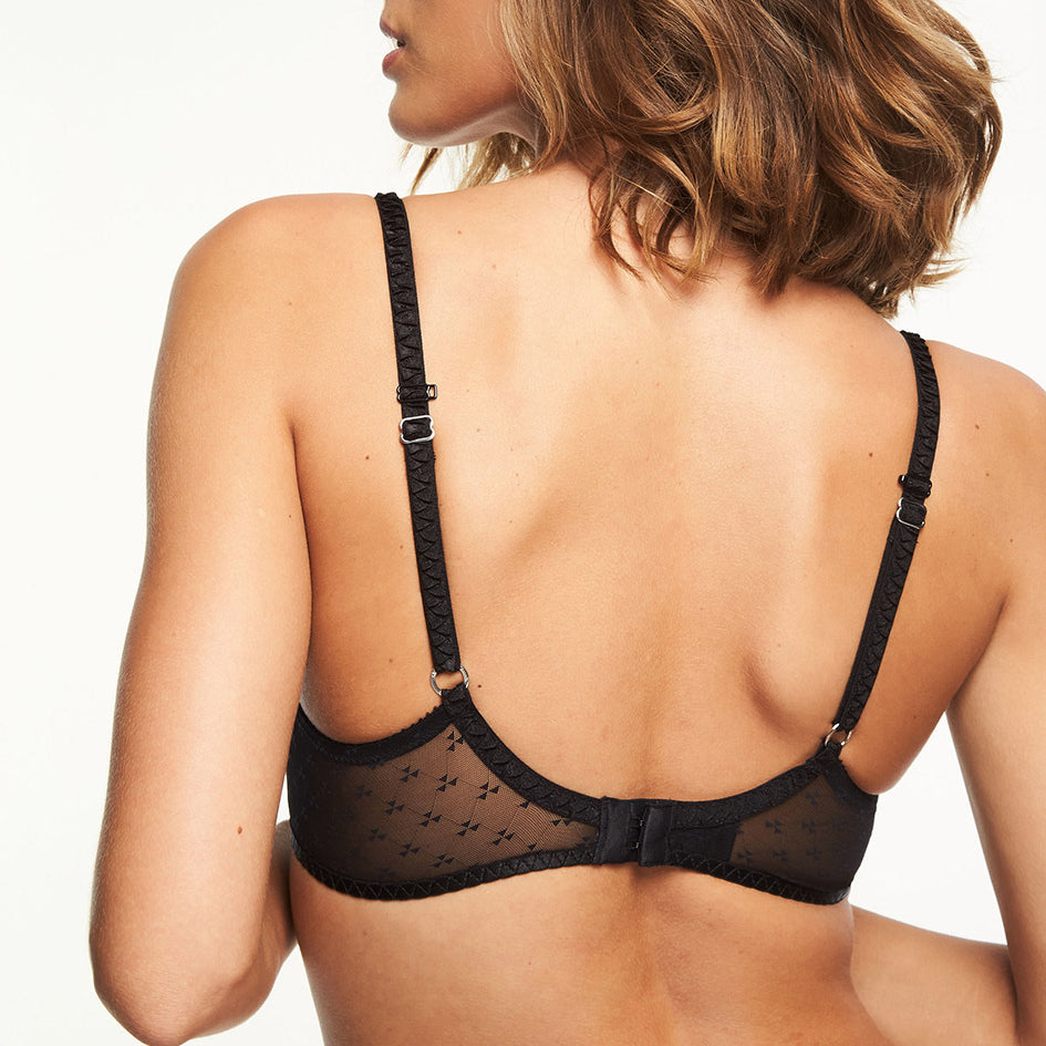 Chantelle Courcelles push-up t shirt bra back view, Black