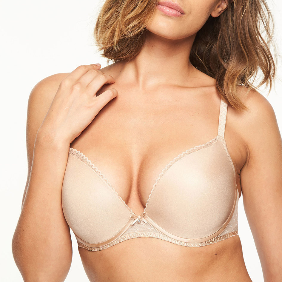 Chantelle Courcelles push-up t shirt bra, Nude