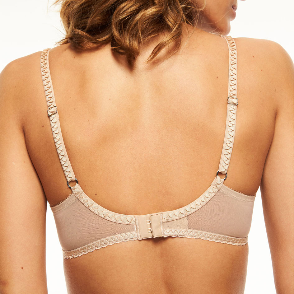 Chantelle Courcelles spacer t shirt bra back view | SHEEN UNCOVERED, Nude