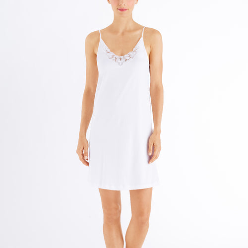 Hanro Aurelia Spaghetti Strap Nightdress #076511 | SHEEN UNCOVERED, white