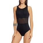 Jets High Neck One Piece Swimsuit | SHEEN UNCOVERED, Black