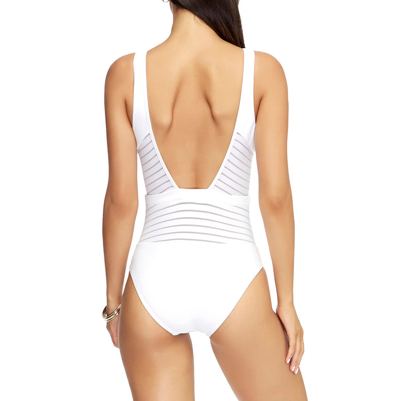 Jets Plunge One Piece Swimsuit | SHEEN UNCOVERED, White