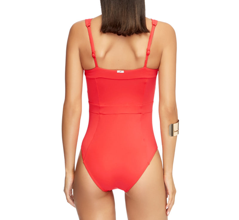 Jets Square Neck One Piece J10593 | SHEEN UNCOVERED, Flamingo