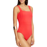 Jets Square Neck One Piece Side View J10593 | SHEEN UNCOVERED, Flamingo