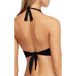 Jets Twist Halter D-DD Bikini Top Back view J4945 | SHEEN UNCOVERED, Black