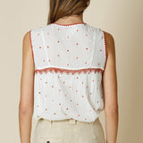 Indi & Cold Sleeveless Embroidered Top With Tassels | SHEEN UNCOVERED, ecru