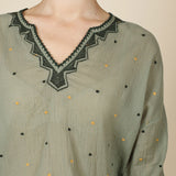 Long Sleeve Embroidered Top Khaki