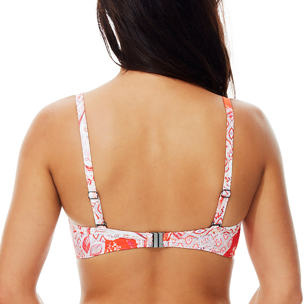 Moontide Babylon Underwired Cross Front Bikini Top M8772BY | SHEEN UNCOVERED, cherry tomato