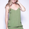 Natalie Olive Green Herringbone Cami Top
