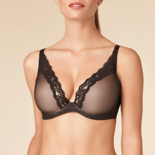 Passionata Brooklyn plunge t-shirt bra P57010, Black