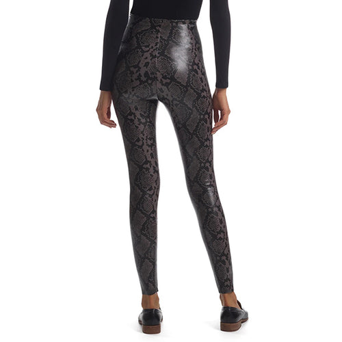 Faux Leather Gray Snake Animal Leggings