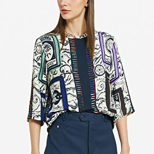 Alexa Flared Blouse With Printing