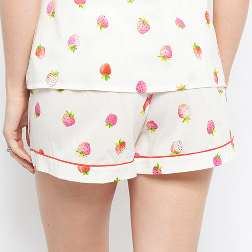 Sophie Strawberry Print Shorts