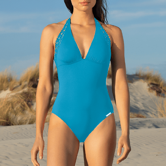 Ajourage Couture Turquoise Halter Neck Swimsuit