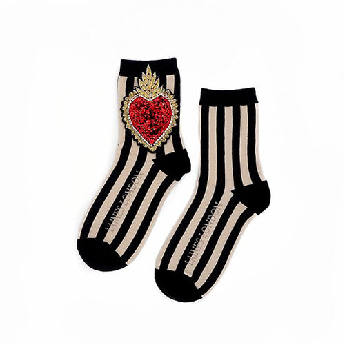 Black and Cream Stripe Cotton Socks With Statement Heart Brooch