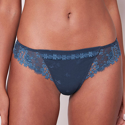 Simone Perele Wish Thong Petrol Blue 12B710 | SHEEN UNCOVERED, Petrol Blue