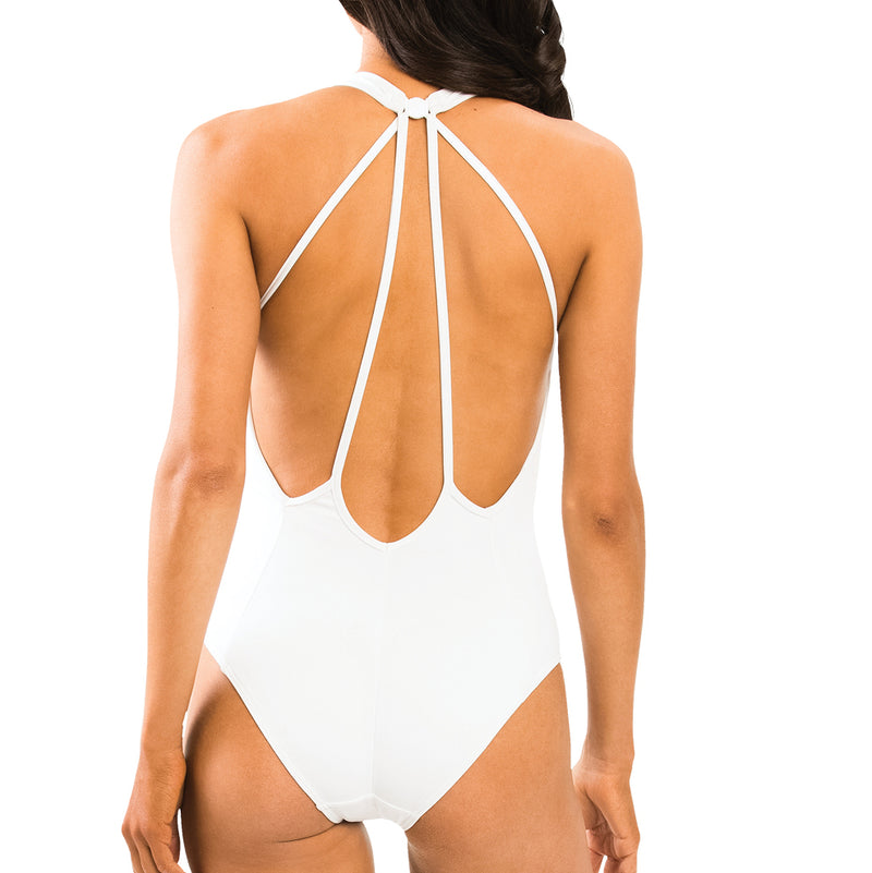 Jets Plunge One Piece Back View J10170 | SHEEN UNCOVERED, White