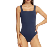 Jets Square Neck One Piece Front J10593 | SHEEN UNCOVERED, Ink