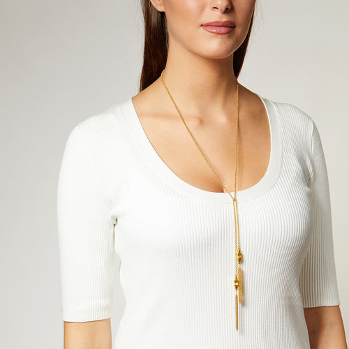 Ashiana Vintage Tassel Lariat Necklace in Gold | SHEEN UNCOVERED