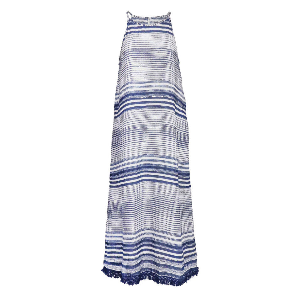 Lula Soul Mani Maxi Dress Blue Cut out front | SHEEN UNCOVERED