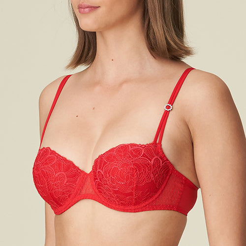 Linda Red Padded Balcony Bra