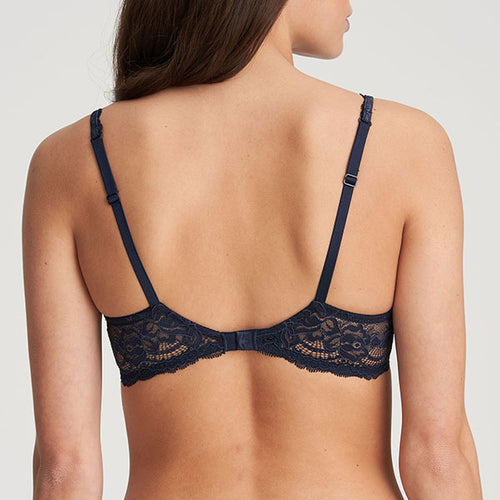 Sylvia Velvet Blue Padded Heart Shape Bra