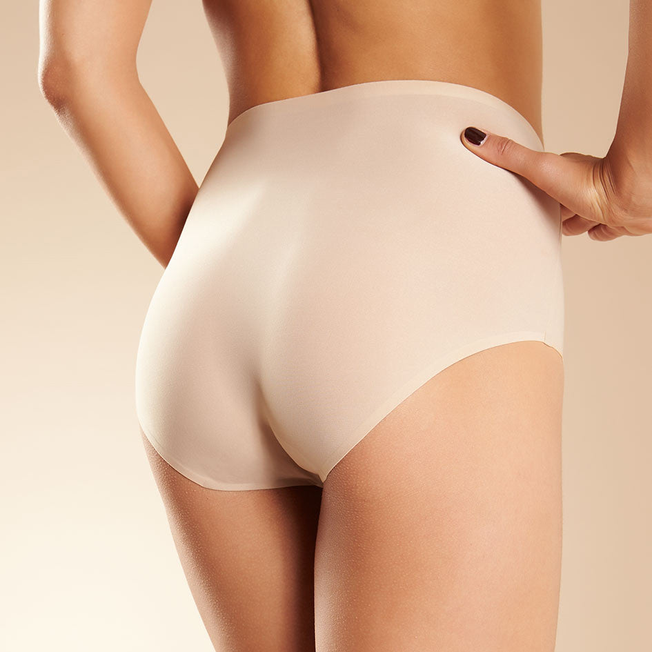 Chantelle Soft Stretch seamless high waisted brief back view C26470 | SHEEN UNCOVERED, Nude