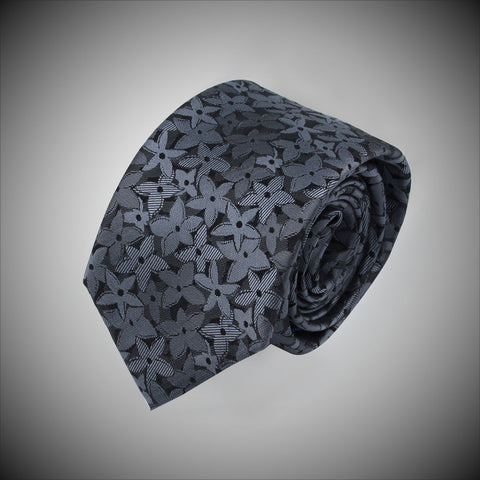 Charcoal Ground With Multi Grey Floral Pattern Woven Silk Tie - justwhiteshirts
