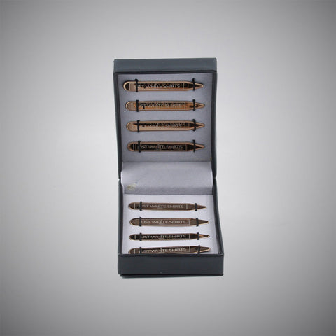 Rose Gold Chrome Finish Stainless Steel 8 Piece Collar Stay Box Set - justwhiteshirts