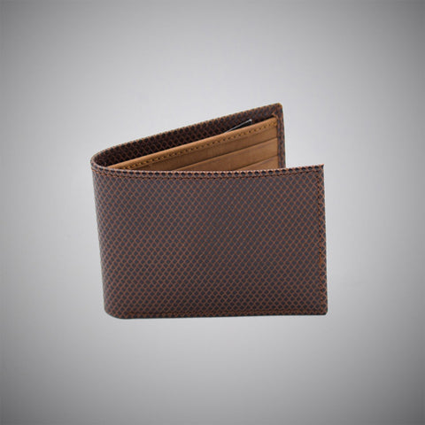 Brown Snake Skin Embossed Calf Leather Wallet With Tan Suede Interior - justwhiteshirts