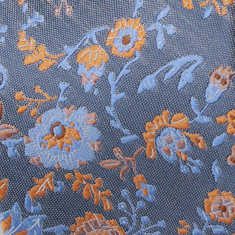 Denim Blue Ground With Orange And Sky Blue Floral Pattern Woven Silk Tie - justwhiteshirts