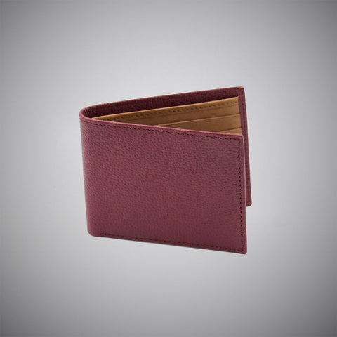 Burgundy Embossed Calf Leather Wallet With Tan Suede Interior - justwhiteshirts